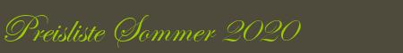 Preisliste Sommer 2020